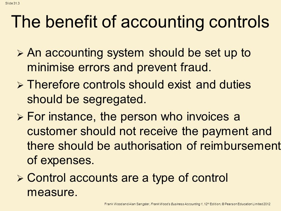 The benefit of accounting controls