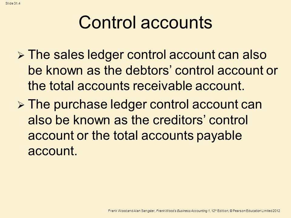 Control accounts The sales ledger control account can also be known as the debtors' control account or the total accounts receivable account.