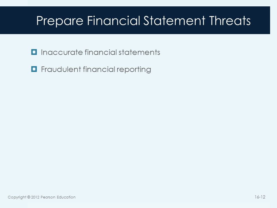 Prepare Financial Statement Threats