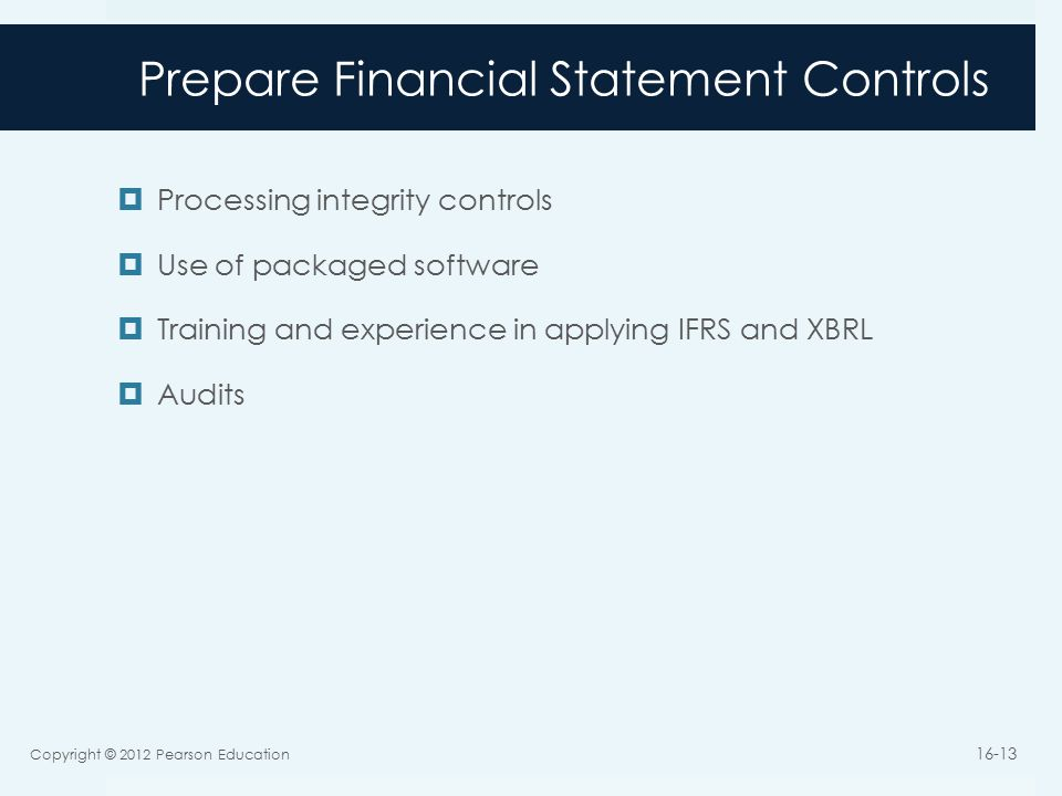 Prepare Financial Statement Controls