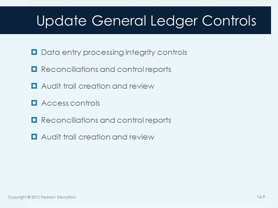 Update General Ledger Controls