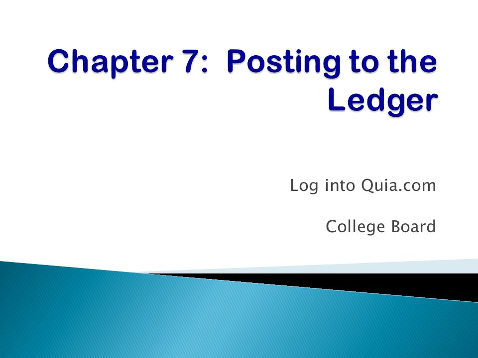 Chapter 7: Posting to the Ledger