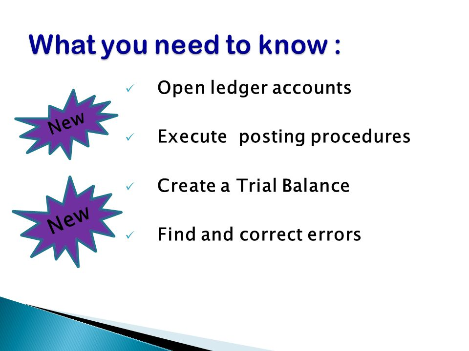 What you need to know : New Open ledger accounts New