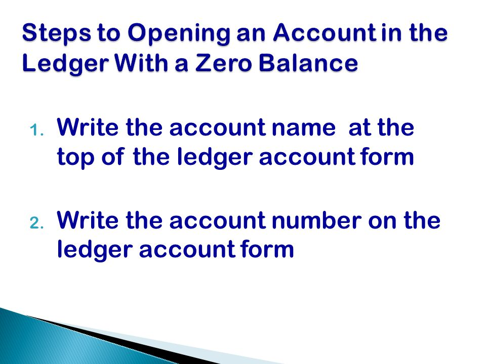 Steps to Opening an Account in the Ledger With a Zero Balance