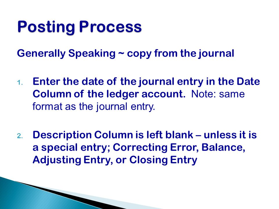 Posting Process Generally Speaking ~ copy from the journal