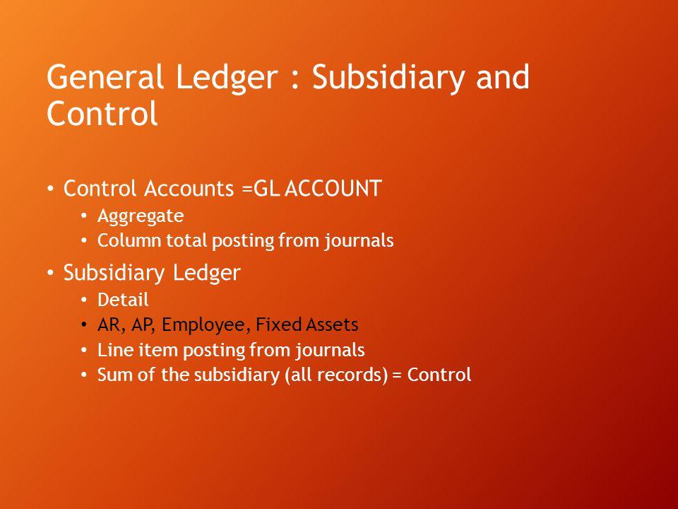 General Ledger : Subsidiary and Control