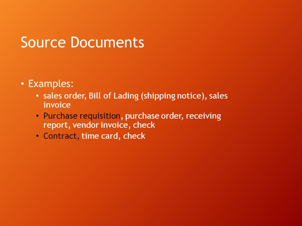 Source Documents Examples: