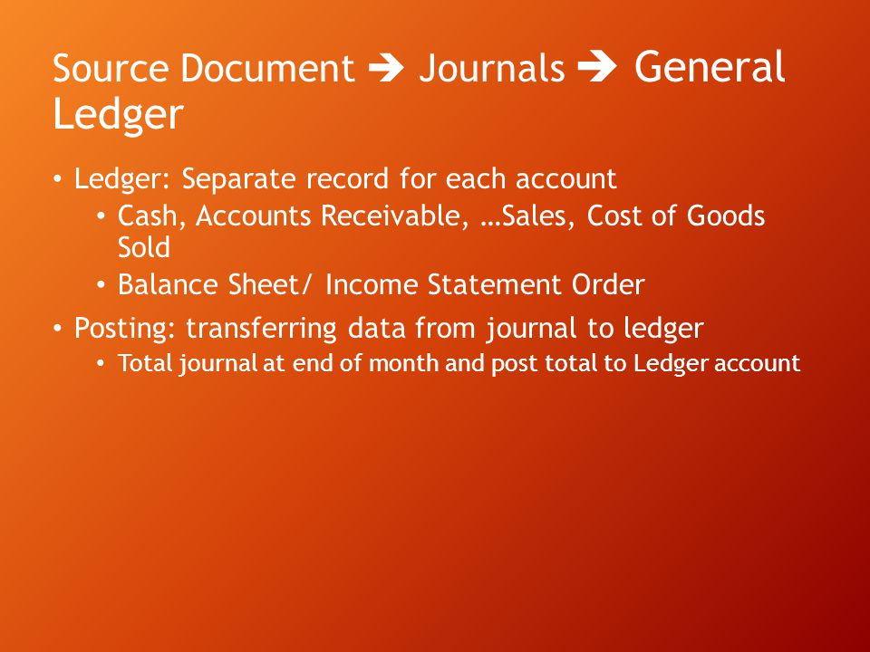 Source Document  Journals  General Ledger