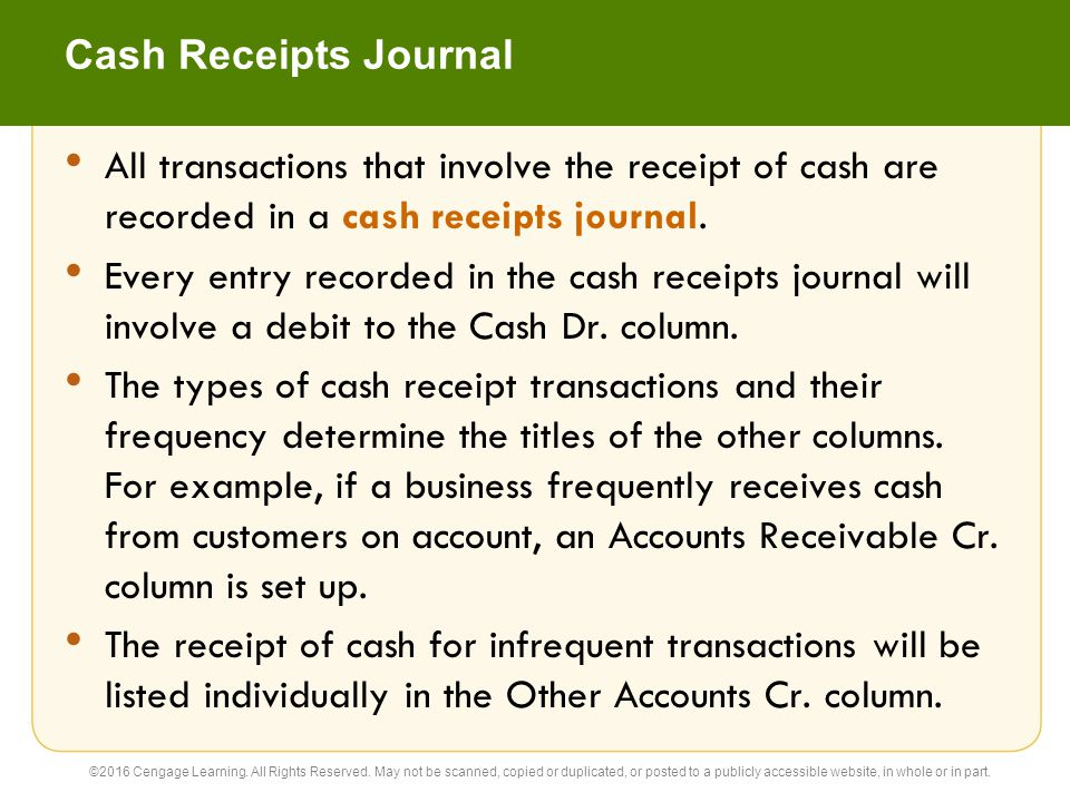 Cash Receipts Journal All transactions that involve the receipt of cash are recorded in a cash receipts journal.