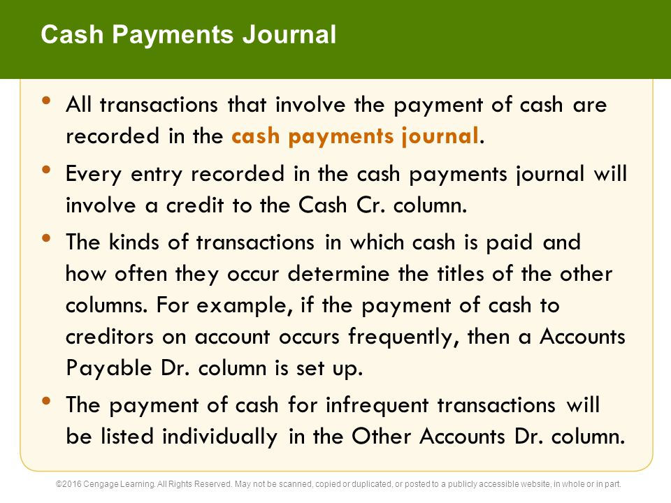 Cash Payments Journal All transactions that involve the payment of cash are recorded in the cash payments journal.