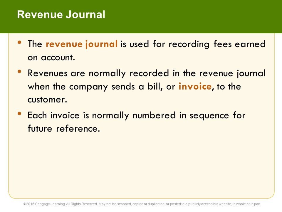 The revenue journal is used for recording fees earned on account.