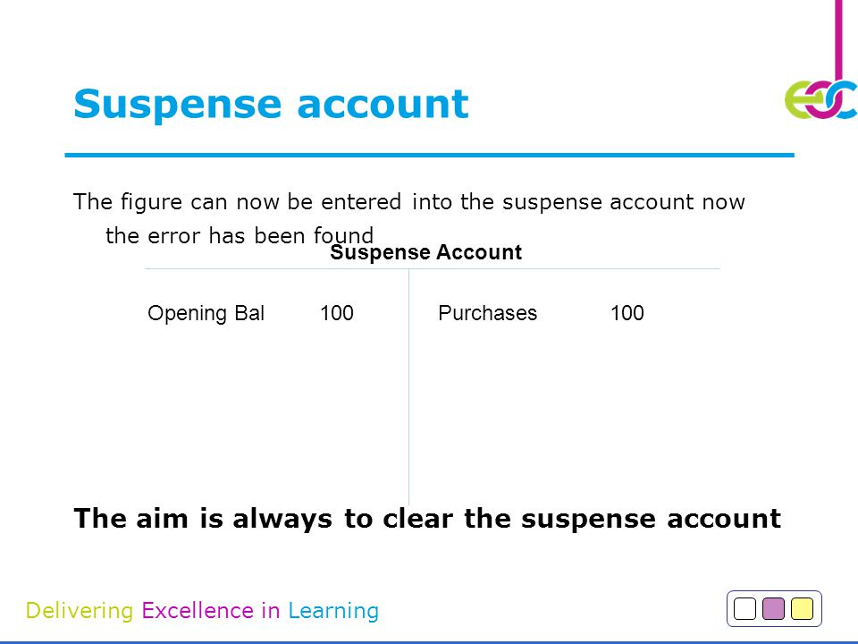 Suspense account The aim is always to clear the suspense account