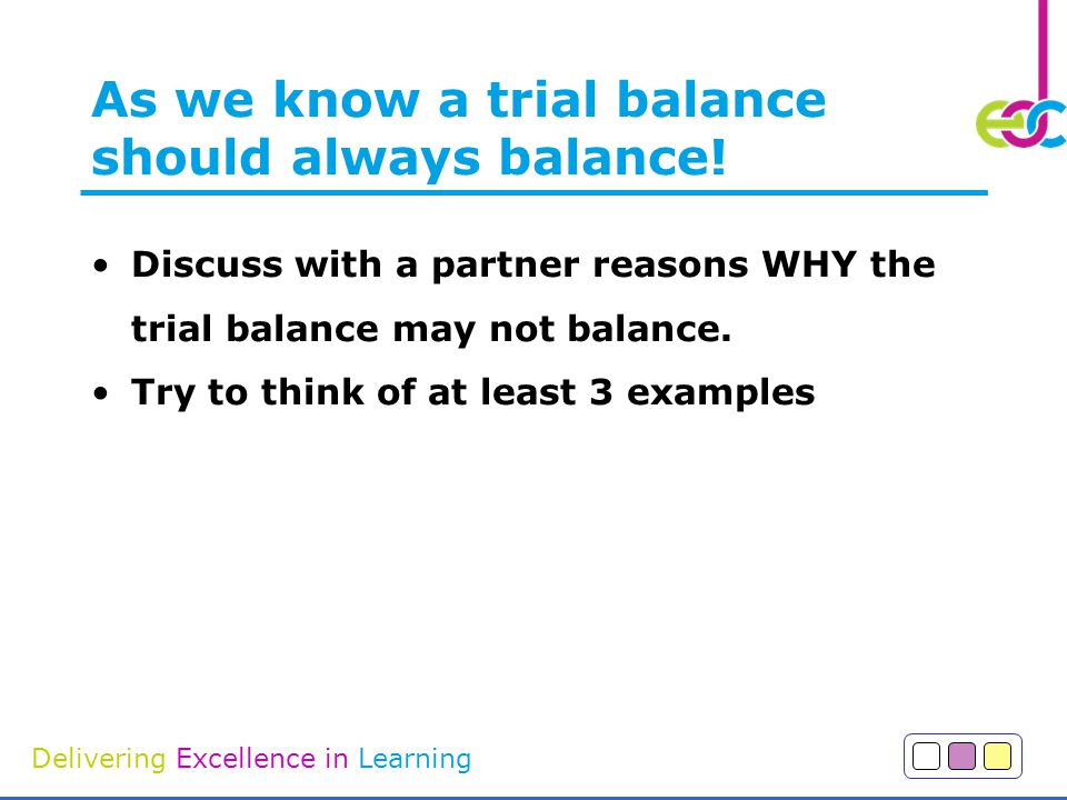 As we know a trial balance should always balance!