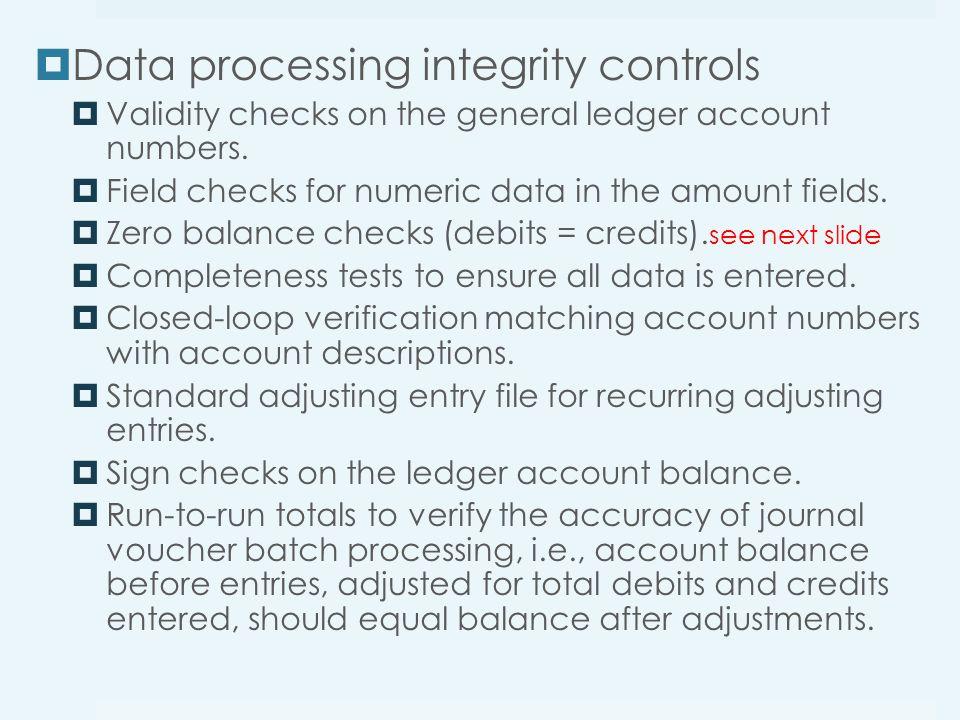 Data processing integrity controls