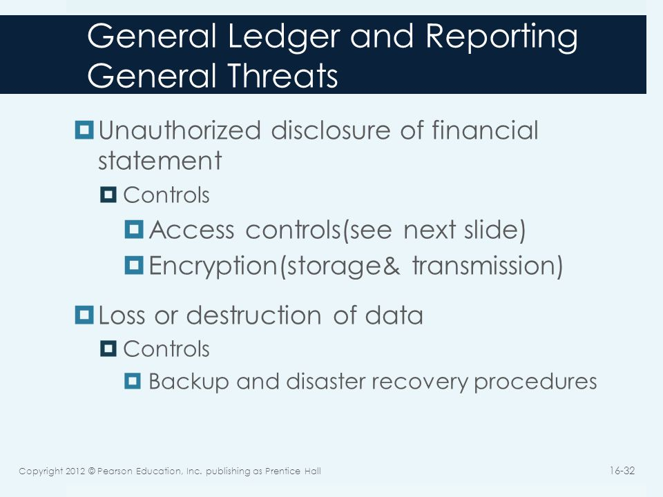 General Ledger and Reporting General Threats