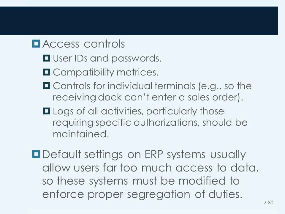 Access controls User IDs and passwords. Compatibility matrices.