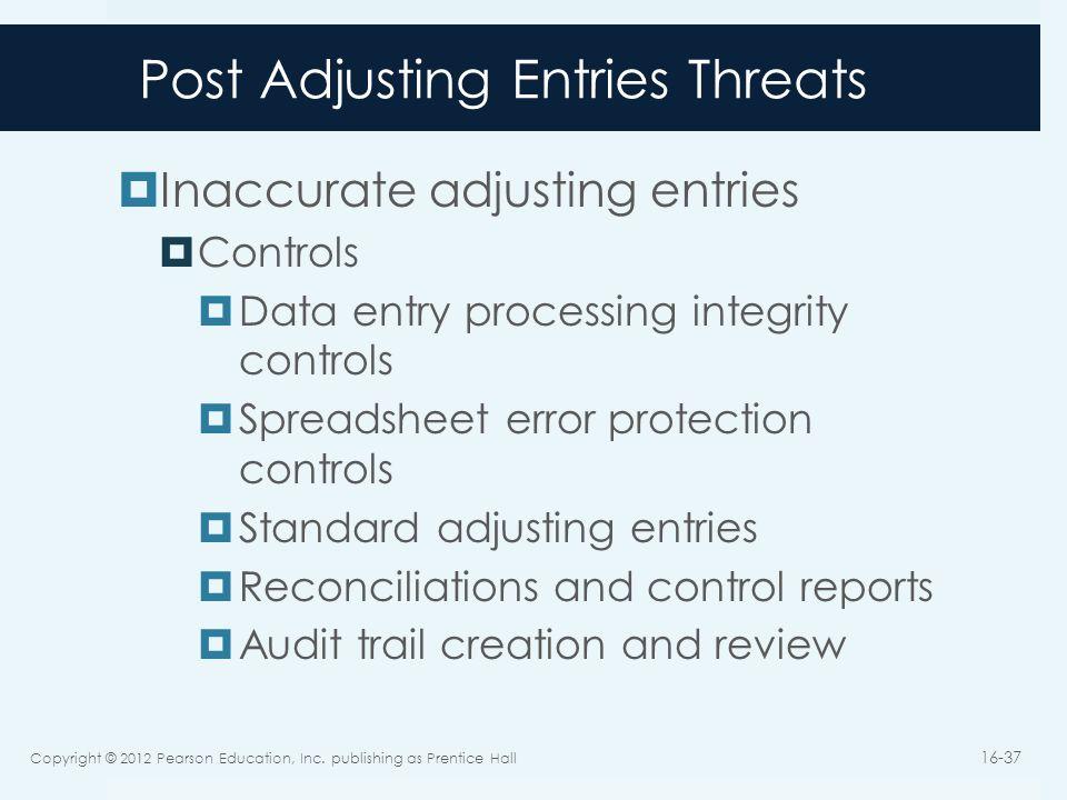 Post Adjusting Entries Threats