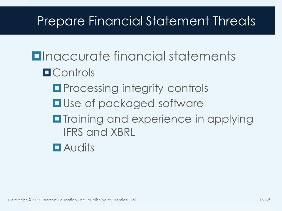 Prepare Financial Statement Threats