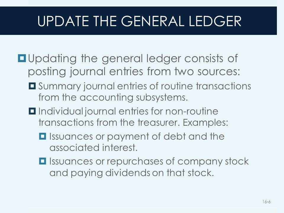 UPDATE THE GENERAL LEDGER