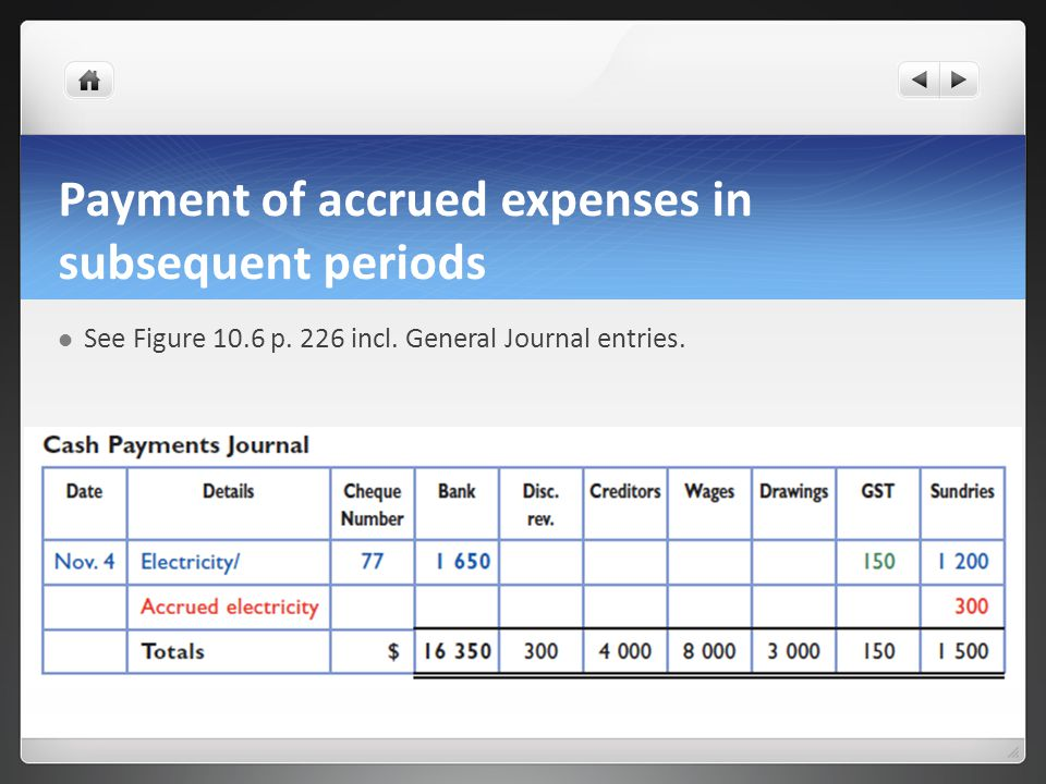 Payment of accrued expenses in subsequent periods