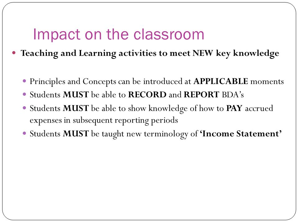 Impact on the classroom