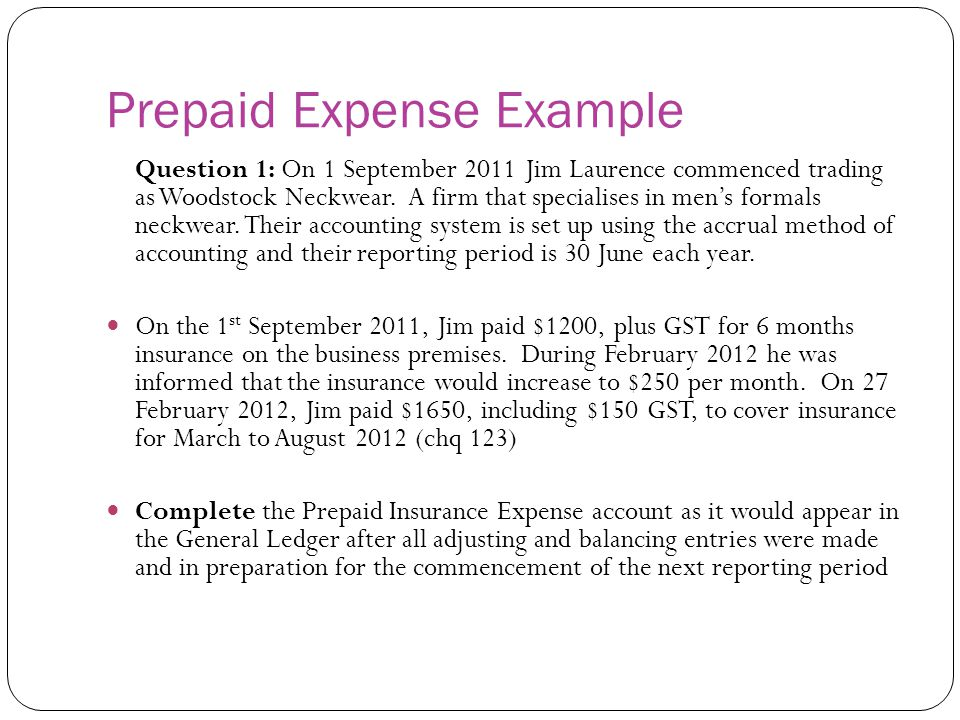Prepaid Expense Example