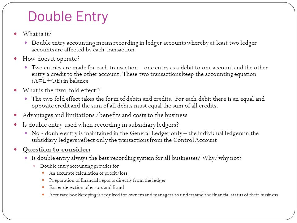 Double Entry What is it How does it operate