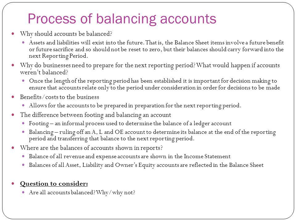 Process of balancing accounts