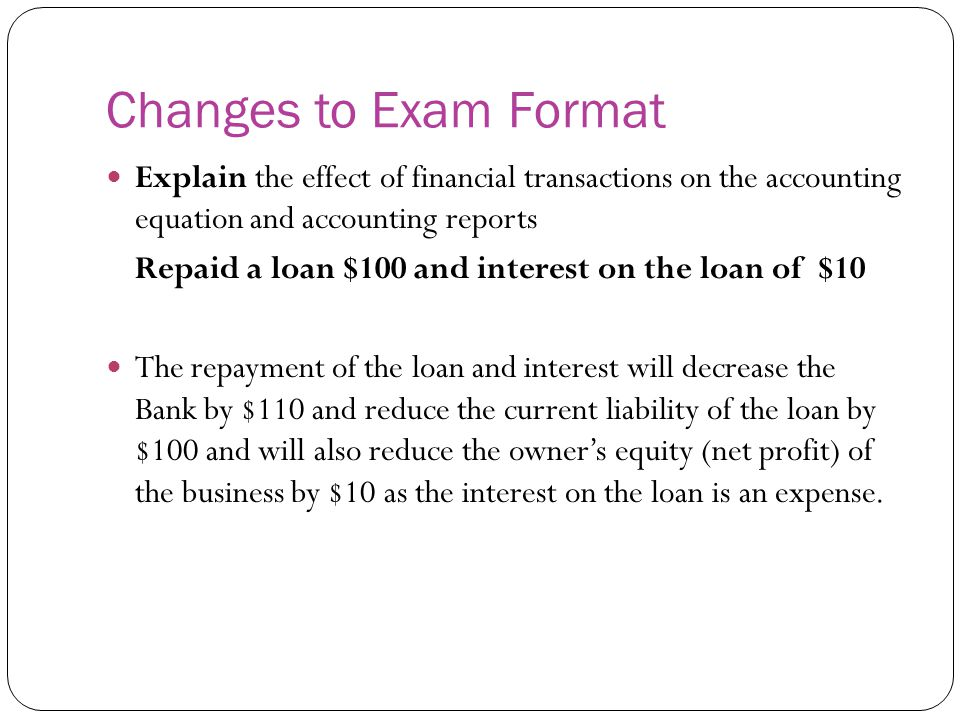 Changes to Exam Format Explain the effect of financial transactions on the accounting equation and accounting reports.