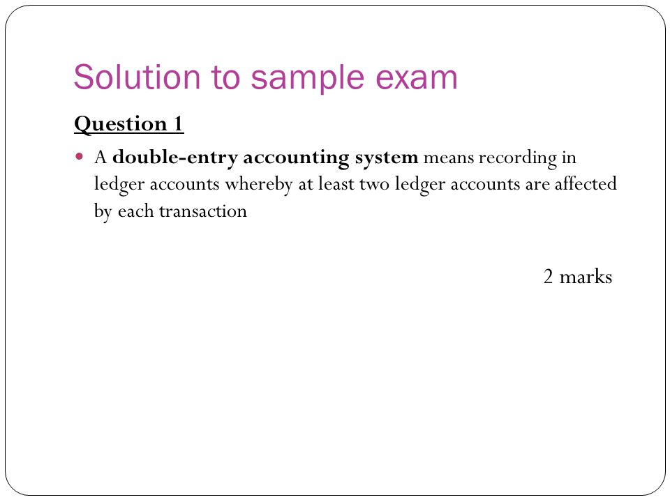 Solution to sample exam