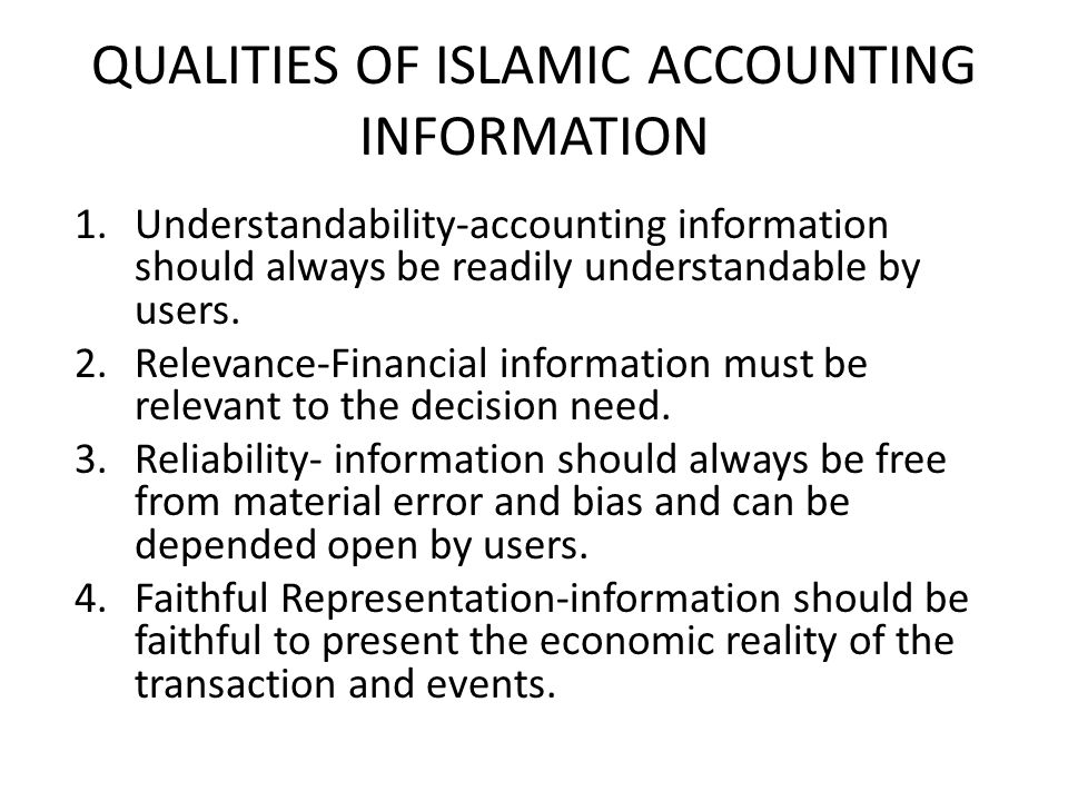 QUALITIES OF ISLAMIC ACCOUNTING INFORMATION