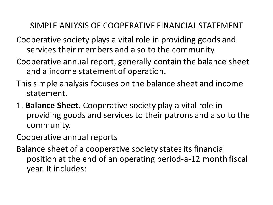SIMPLE ANLYSIS OF COOPERATIVE FINANCIAL STATEMENT