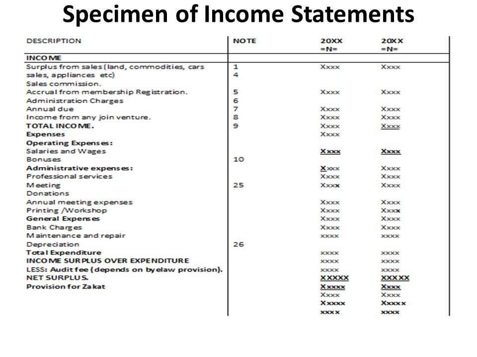 Specimen of Income Statements