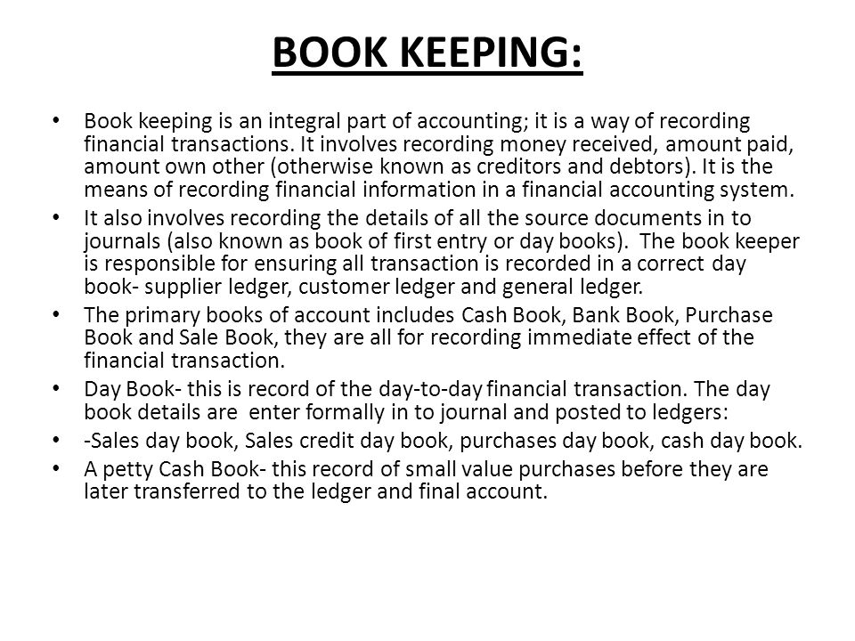 BOOK KEEPING: