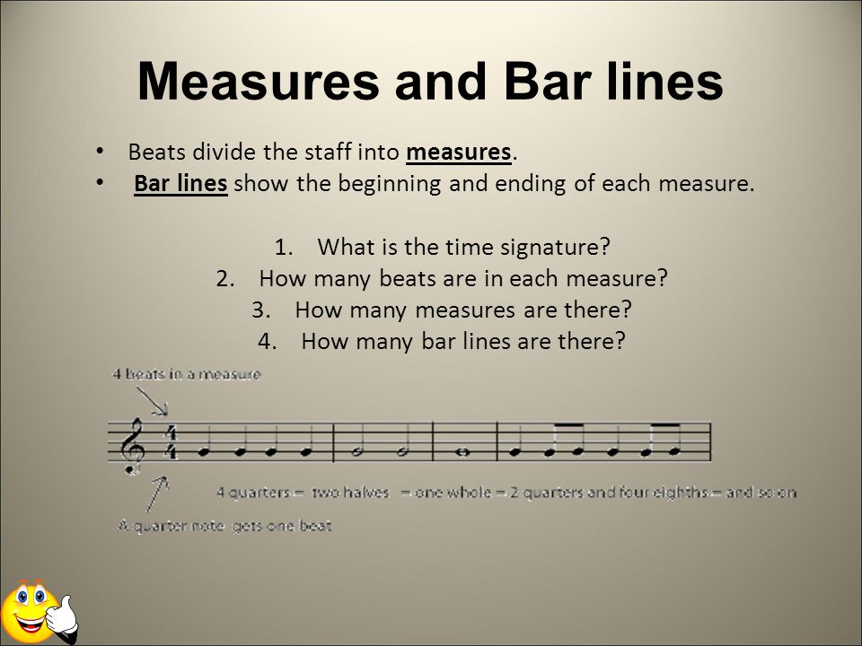 Measures and Bar lines Beats divide the staff into measures.