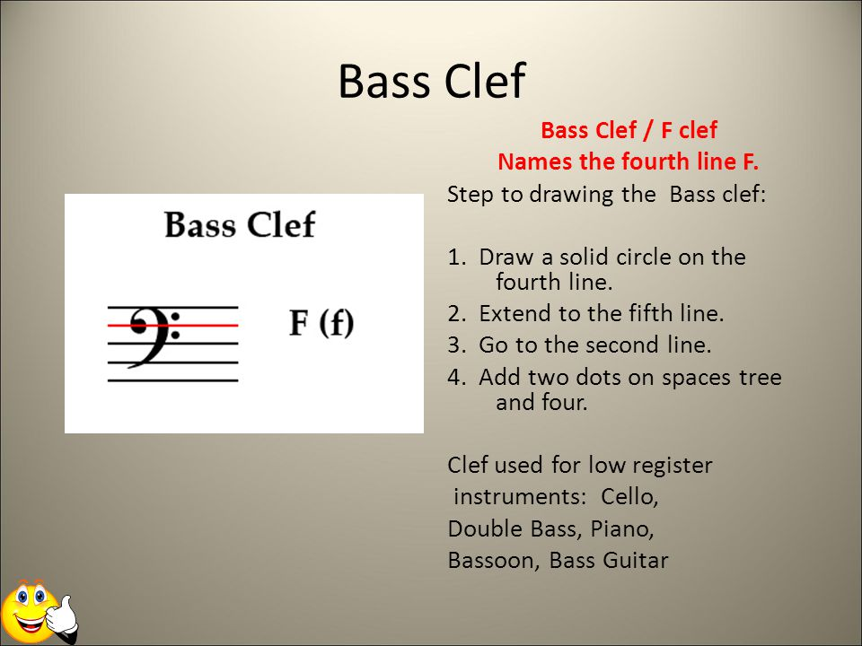 Bass Clef Bass Clef / F clef Names the fourth line F.