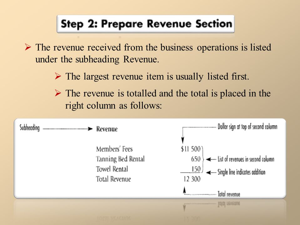 The revenue received from the business operations is listed under the subheading Revenue.