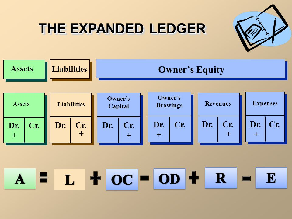 A R E L OC OD THE EXPANDED LEDGER Owner's Equity Dr. Cr. Dr. Cr. Dr.