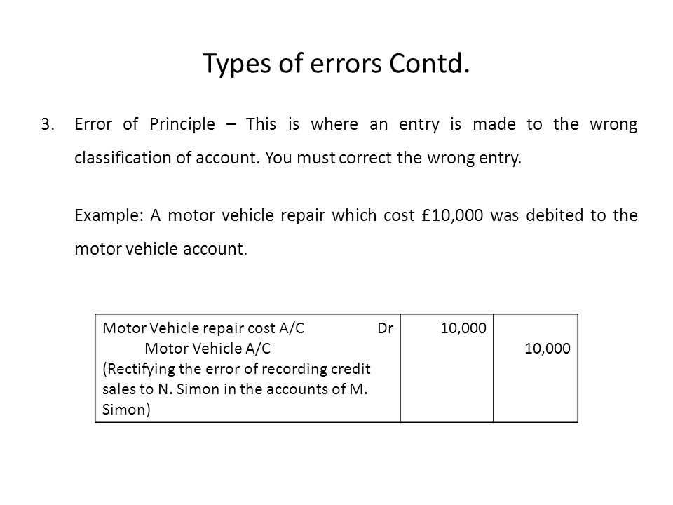 Types of errors Contd. Error of Principle – This is where an entry is made to the wrong classification of account. You must correct the wrong entry.