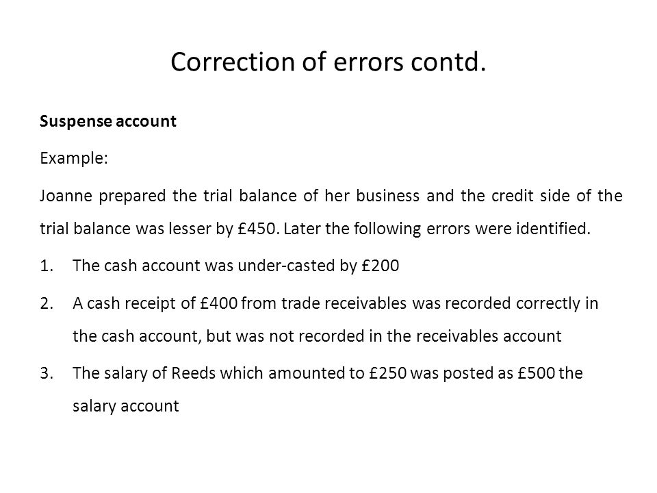 Correction of errors contd.