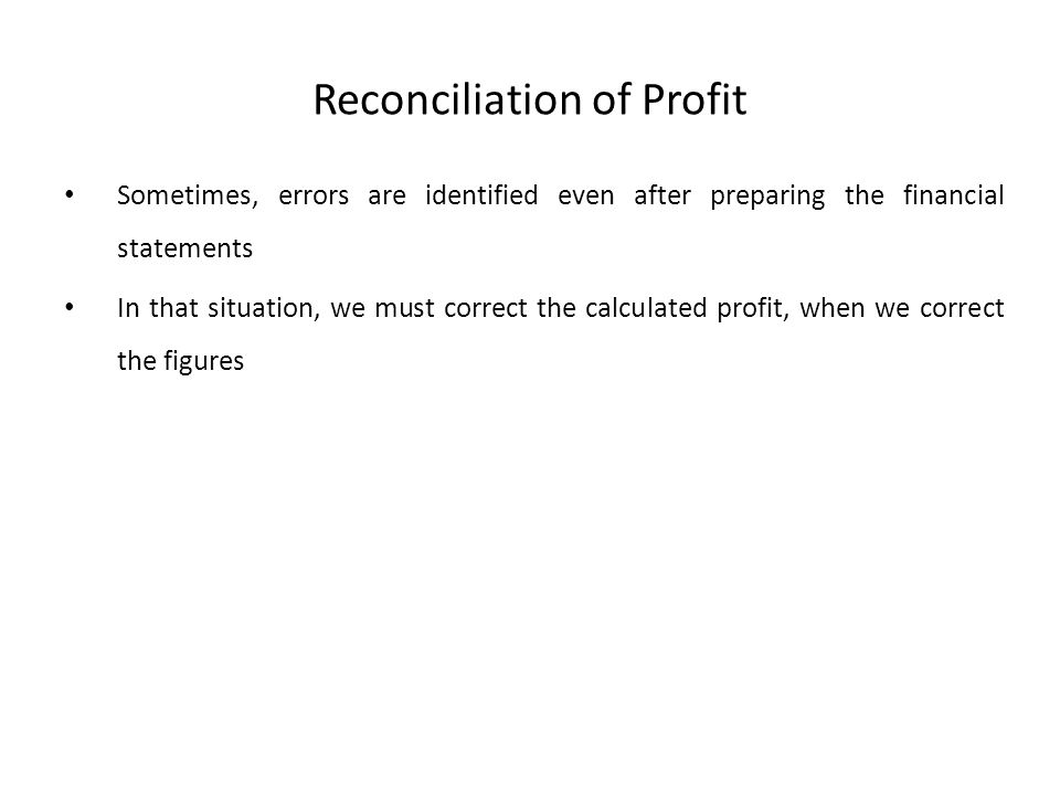 Reconciliation of Profit