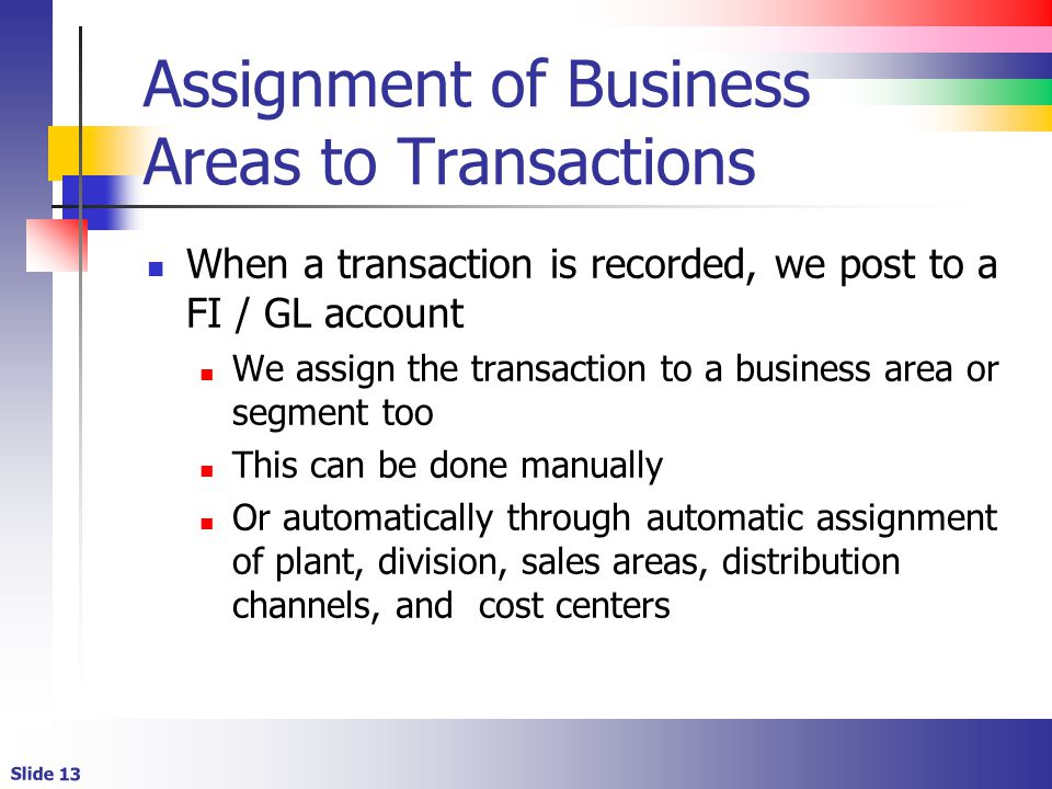 Assignment of Business Areas to Transactions