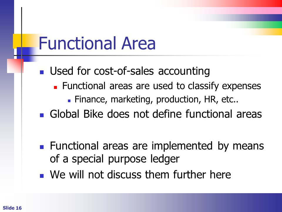 Functional Area Used for cost-of-sales accounting