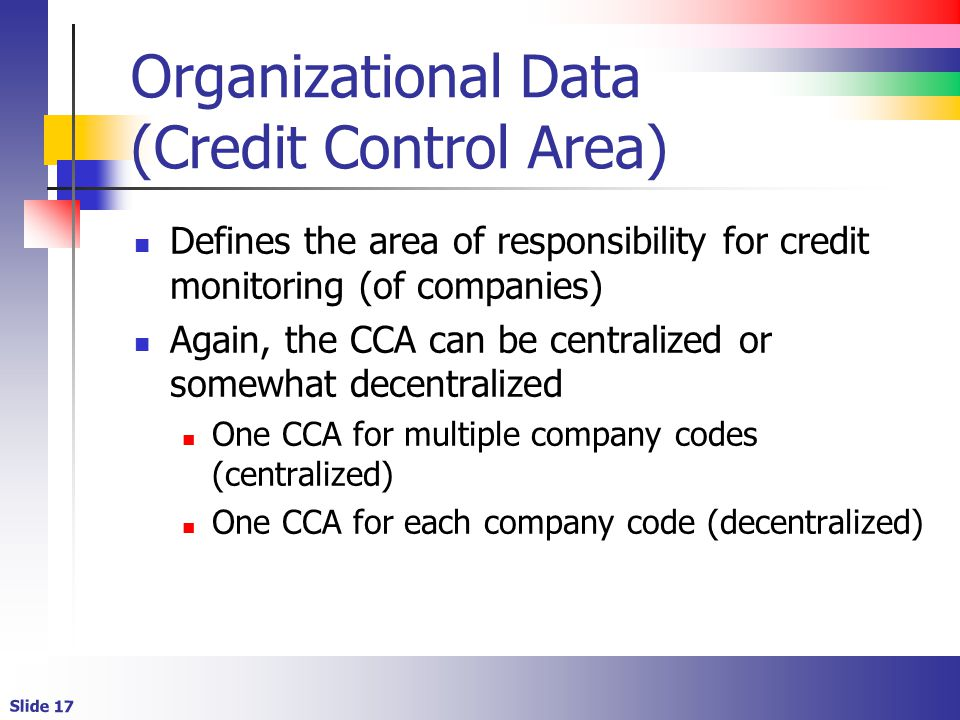 Organizational Data (Credit Control Area)