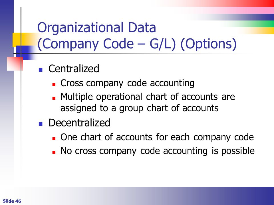Organizational Data (Company Code – G/L) (Options)
