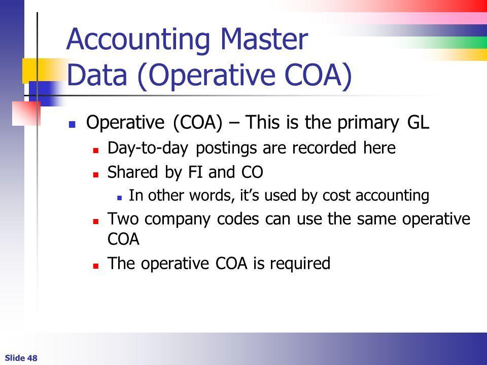 Accounting Master Data (Operative COA)