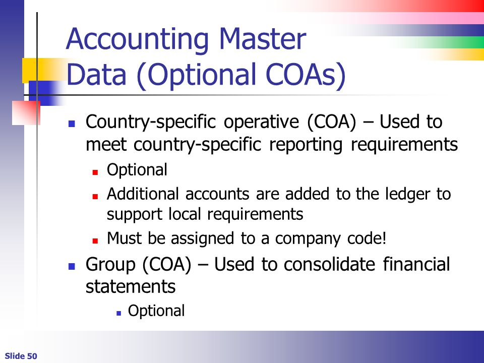 Accounting Master Data (Optional COAs)