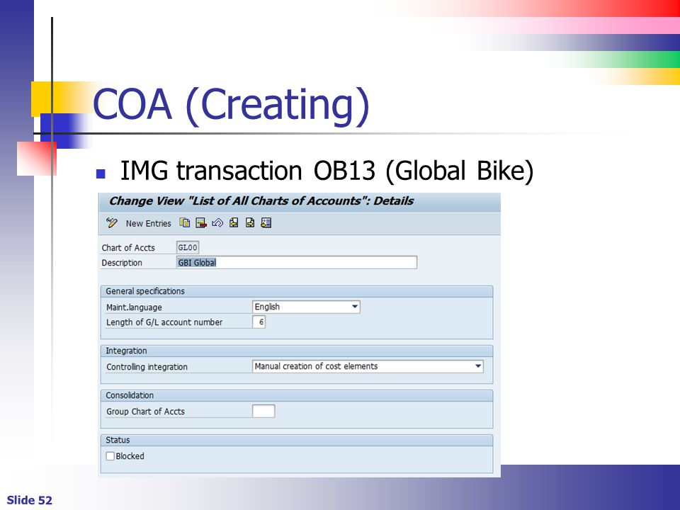 COA (Creating) IMG transaction OB13 (Global Bike)