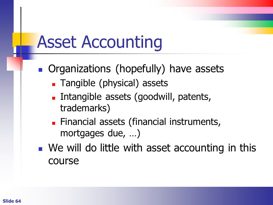 Asset Accounting Organizations (hopefully) have assets