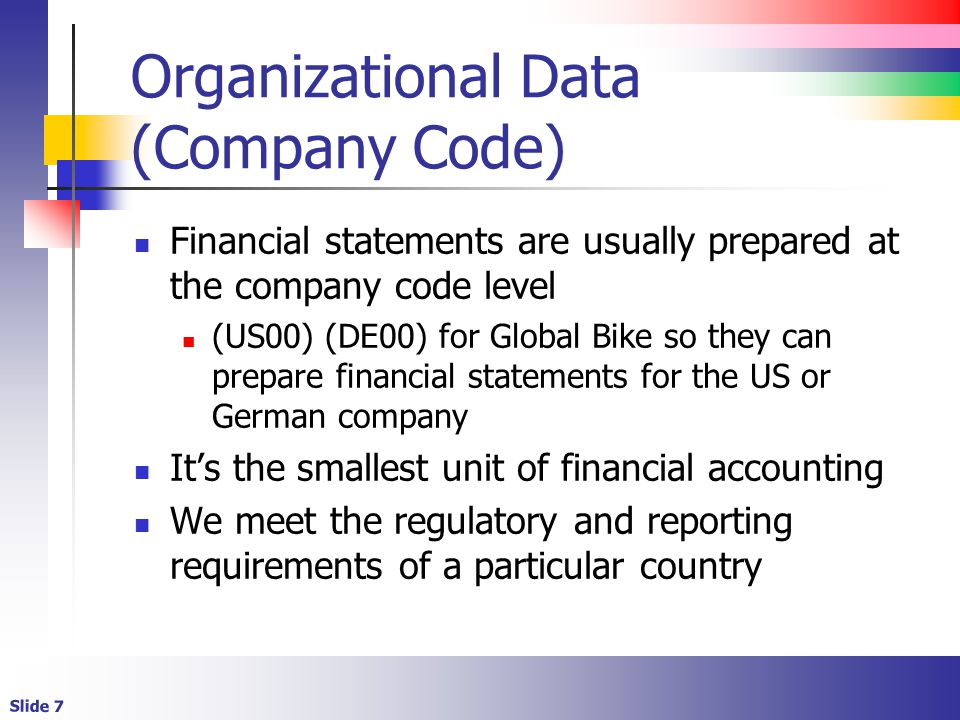 Organizational Data (Company Code)